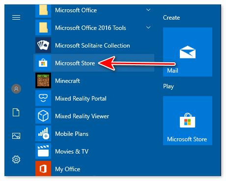 Зайти через Microsoft Store