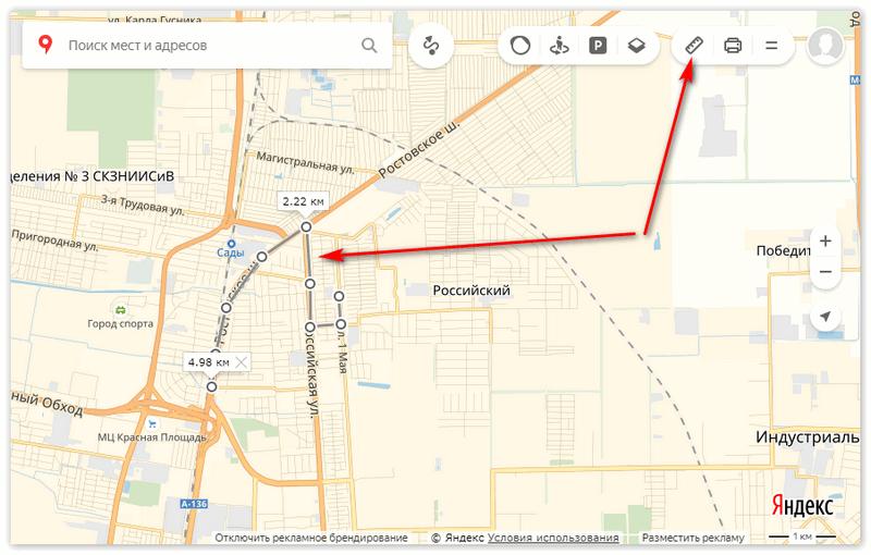 Инструмент линейка на Яндекс карте