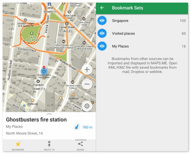 Интерфейс Maps.Me