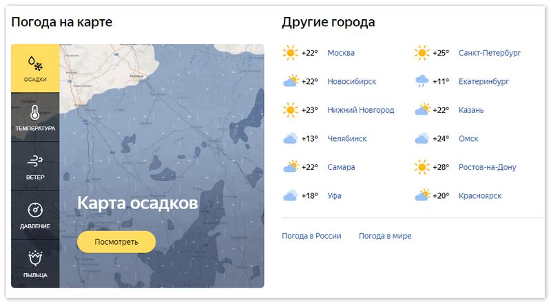Карта осадков Яндекс Погода