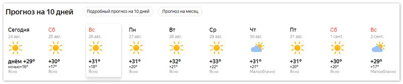 Прогноз на 10 дней на сайте Яндекс Погода