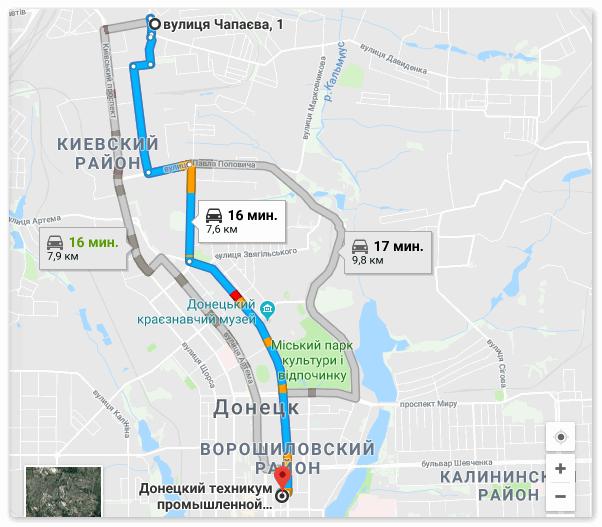 Проложенный маршрут в Гугл