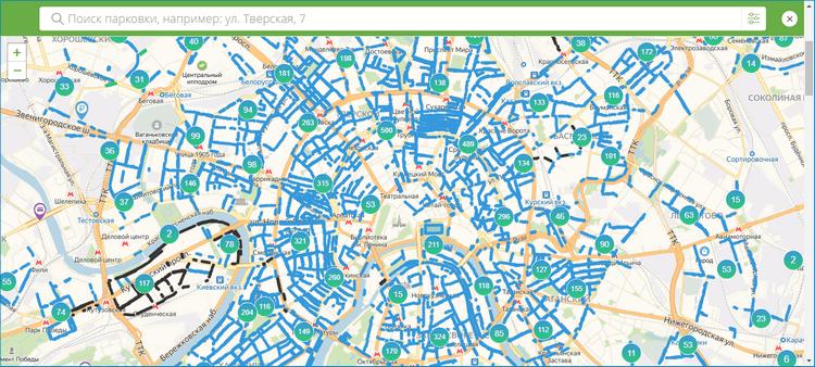 Карта на официальном сайте Московский Паркинг