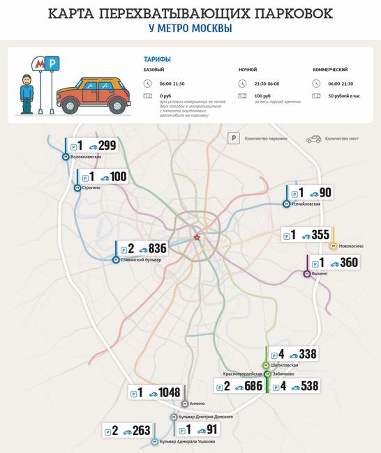Карта перехватывающий парковок в Москве