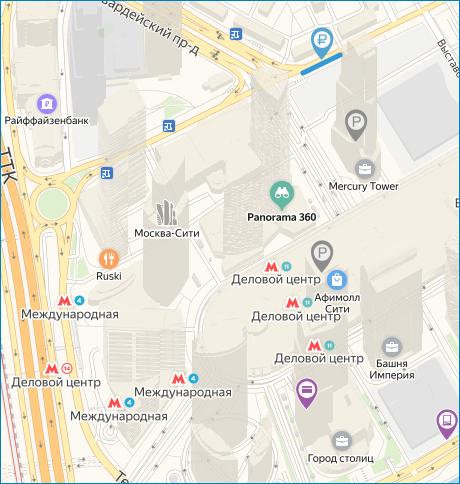 Схема парковочных мест Москва-Сити